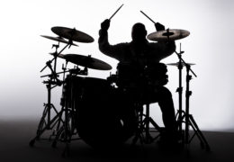 Siloutte of a male drummer in the studio